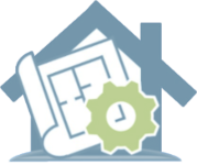 a vector image of the outline of a house with an image of construction plans and a gear layered in front ot it
